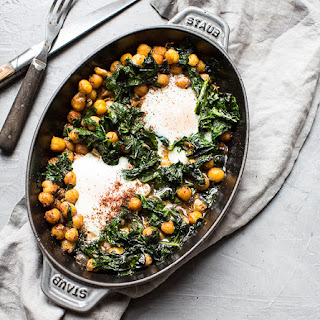 Olive Oil Baked Chickpeas with Eggs, Spinach and Sumac.