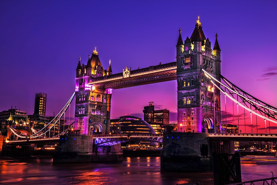 Tower bridge by Piotr Owczarzak - Buildings & Architecture Bridges & Suspended Structures ( great britan, purple, night photography, london, bride, night shot,  )