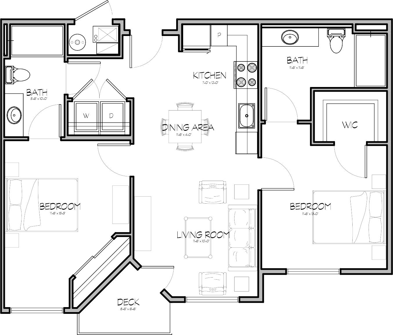 Parleys Floorplan 2 Bed 2 Bath North Temple Flats