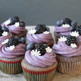 Blackberry-Blueberry Cupcakes with Blueberry Cream Cheese Frosting.