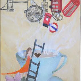 Dream of a Coffee Farmer by Shelina Khimji - Painting All Painting ( cup, ladder, butterfly, post, bus, crown, coffee, art, smoke, london eye, london, farmer, landmarks, tower bridge, big ben, telephone,  )