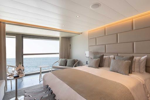 The comfy Superior Veranda Suite aboard the Galapagos-purposed ship Silver Origin.