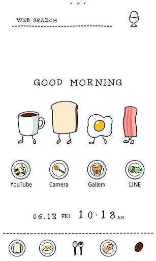 かわいい壁紙・アイコン-ファニーな朝食-無料きせかえ