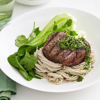 Grilled Steak with Asian Pesto and Soba Noodles.