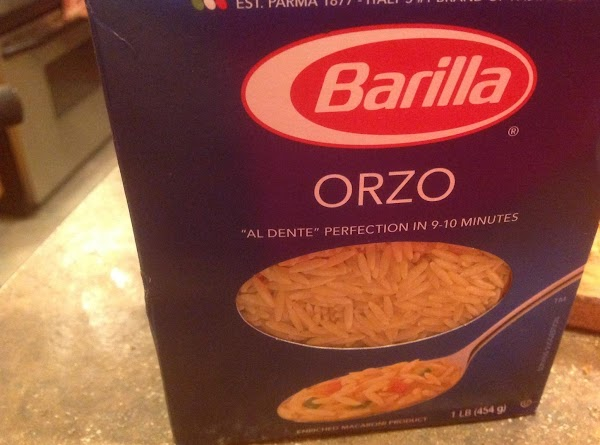 Cook orzo pasta Al Dente, then drain in a colander and add back into...