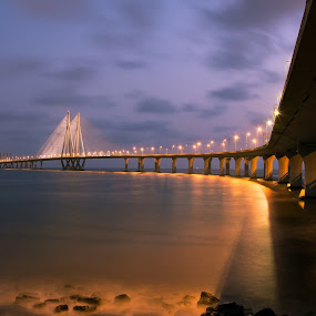 mumbai sea link by Amol Patil - Buildings & Architecture Bridges & Suspended Structures ( city at night, street at night, park at night, nightlife, night life, nighttime in the city )