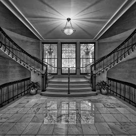 Top of the Eighth by John Williams - Black & White Buildings & Architecture ( interior, stairs, stairway, black & white, staircase, northwestern mutual, architecture )