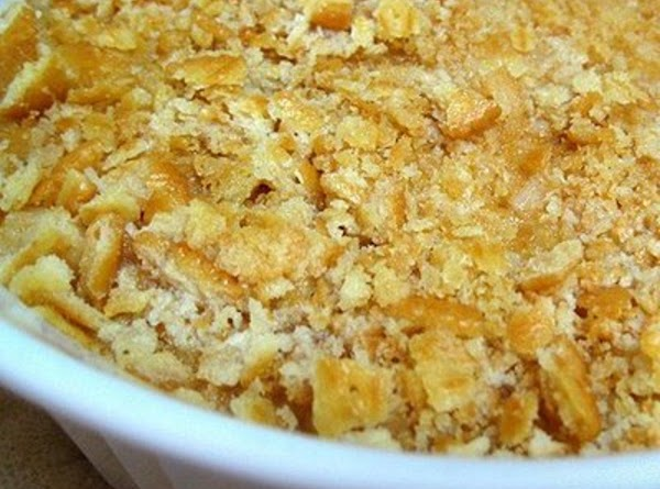 Topping:  Combine melted butter with crushed cracker crumbs, sprinkle on top and bake...