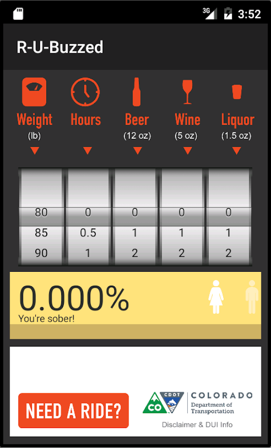 R-U-Buzzed? BAC Calculator- screenshot