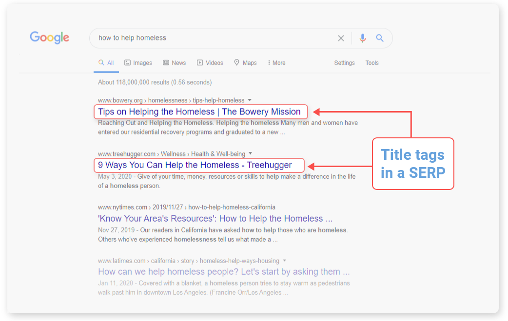title tags in search results