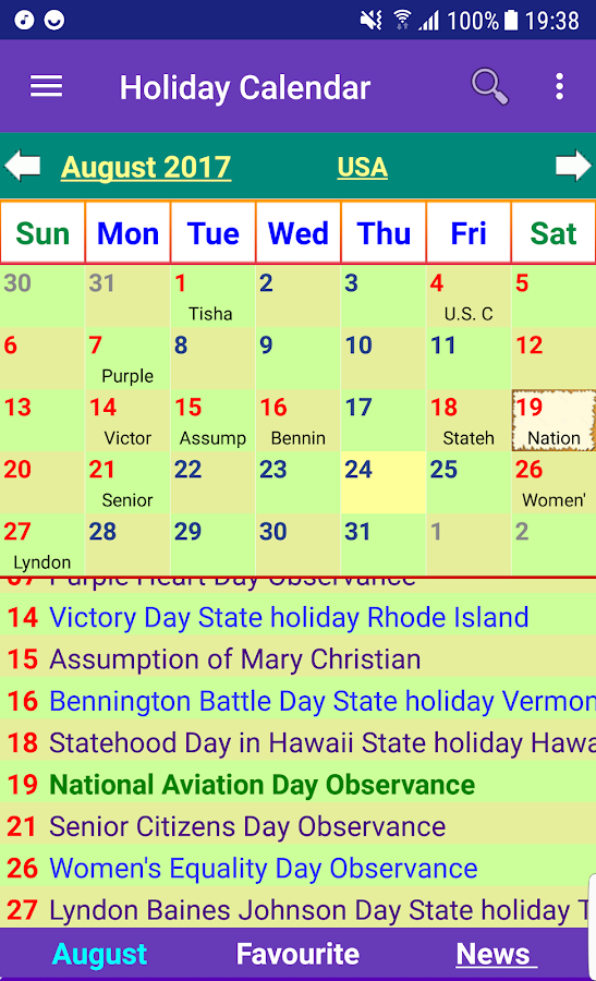 Calendar Zu : Holiday calendar free android apps on google play