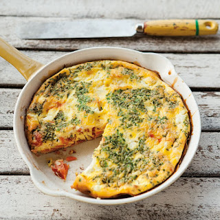 Smoked Salmon Frittata with Goat Cheese and Chives.