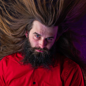 super saiyan by Duane Vosika - People Portraits of Men ( red, masculine, long hair, beard, long beard, men, self portrait, man, portrait,  )