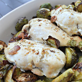 Roasted Chicken with Brussels Sprouts and Bacon.