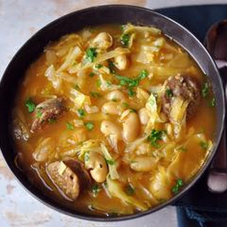 Cabbage, White Bean & Sausage Soup.