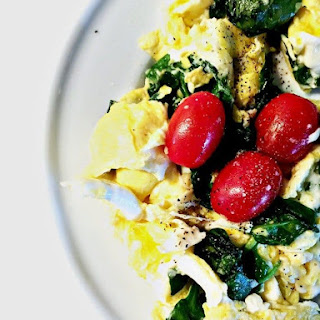 Egg Spinach and Tomato Scramble.
