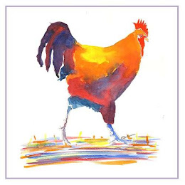 a water colour running cockerel