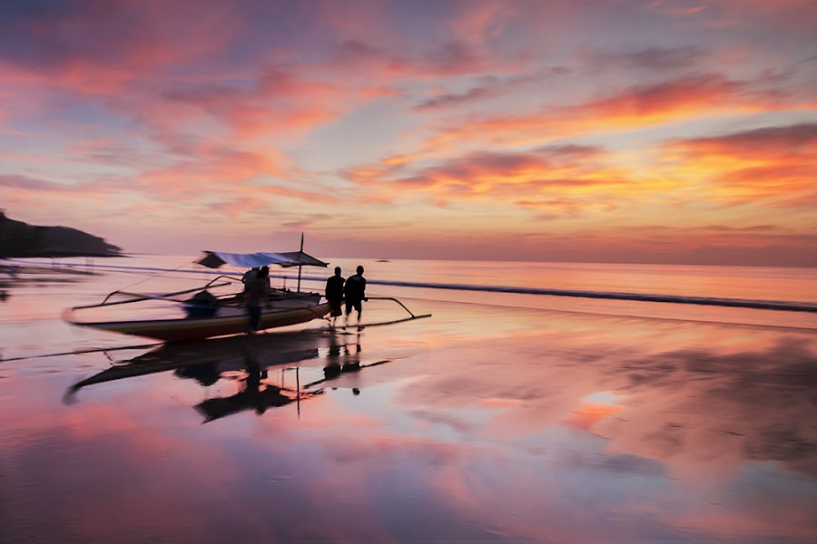Into the Blaze by James Enriquez - Landscapes Sunsets & Sunrises ( water, reflection, boats, ocean, seascape, sunrise, landscape )