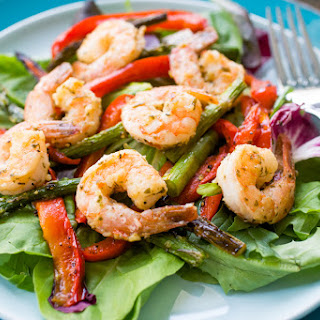 Lemon Garlic Shrimp With Roasted Red Pepper And Asparagus.