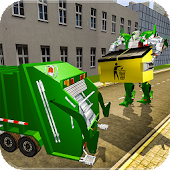Real Robot Transformation Garbage Truck Driving 3D