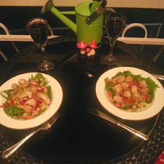Lemon Chicken and and Edamame Salad.