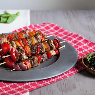 Montreal Steak Skewers with Tomato Olive Relish.