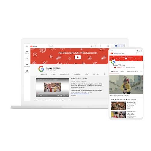 Hình một chiếc máy tính xách tay và điện thoại sử dụng YouTube