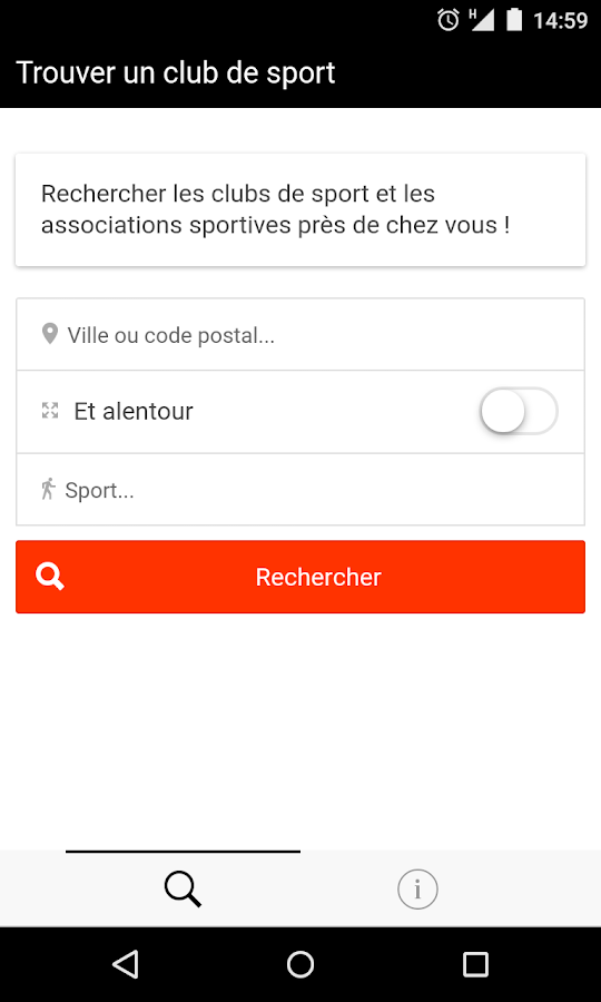 Trouver un club de sport- screenshot