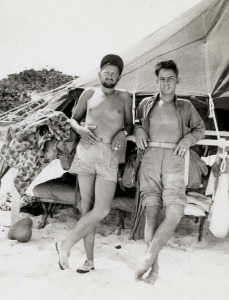 Neal (left) with friend on Midway