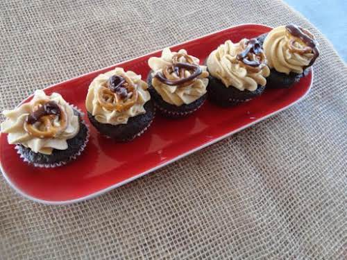 "Chocolate Peanut Butter Pretzel Cupcakes ""Oh man. Chocolate was made for peanut butter...and..."