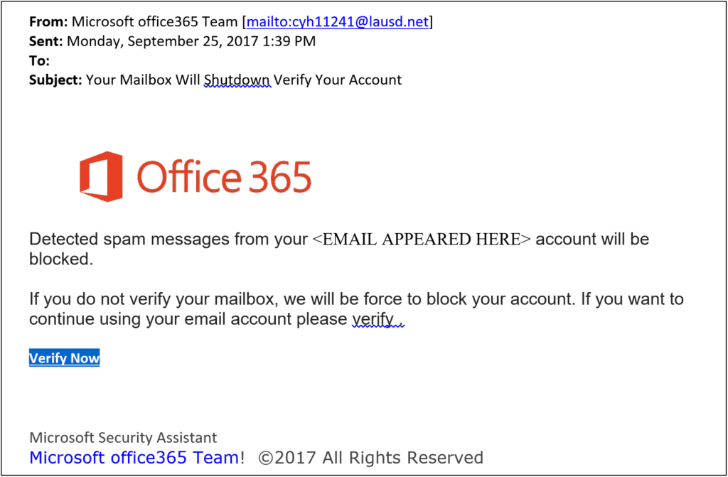 What is phishing? This is an example of a phishing email.