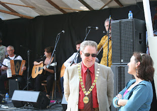 Photo: Chairman of B&NES Council Cllr. Ian Gilchrist chatting to Jo Sercombe, Festival President