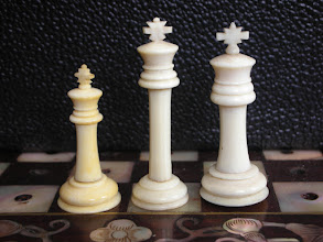Photo: Comparison of pieces in my three Cantonese ivory travel sets  From left to right (in all this series of images):  CH114, CH263 & CH219  All these pieces were designed to fit on the same size of board (although all have different diameter pegs, which makes exchanging tricky, if not impossible in some instances).  It was clear that there were substantial differences but, until I had all three together, I had not quite recognised how much so!  Kings: 31.4mm / 40mm / 37.4mm, respectively, excl. peg  The piece on the left is perhaps more closely resembling a standard English Staunton king, with the other two being more 'distinctive'. This might mean that it was a closer copy of a western set and therefore, possibly, earlier than the other two. As yet, I know of no valid means of separating the age of these sets.  As an aside, I can see quite a resemblance between the Kings' crosses on these sets and those found on German Uhlig sets!