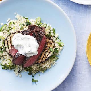 Sirloin Steak with Eggplant, Couscous and Cumin Yogurt.