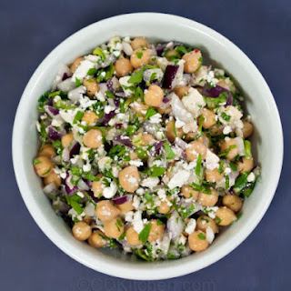 Garbanzo Bean (Chickpea) Salad With Red Onion, Parsley, Cilantro, And Feta.
