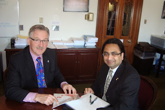 Photo: Husain (R) with Gerald Keddy, Parl Sec to Min of International Trade  http://canadaindiaeducation.com/introduction/media-outreach