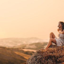Francesca by Luca Fabiani - People Portraits of Women ( hills, warm, girl, nature, sunset, summer, landscape, portrait )