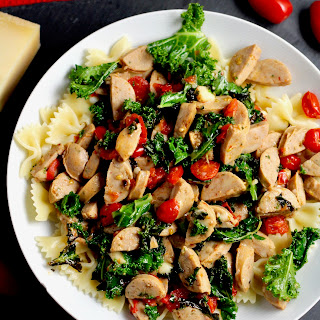 Simple Kale and Chicken Sausage Pasta.
