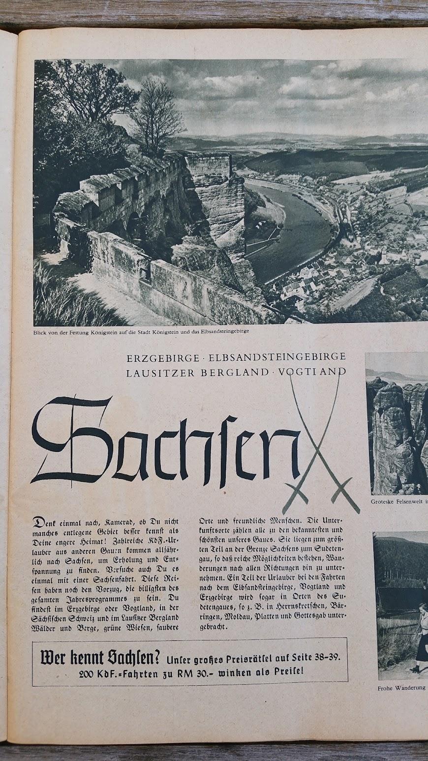 """Die Deutsche Arbeitsfront - Urlaubsfahrten 1939 - NS-Gemeinschaft """"Kraft durch Freude"""" Gau Sachsen - Katalog - Sachsen"""