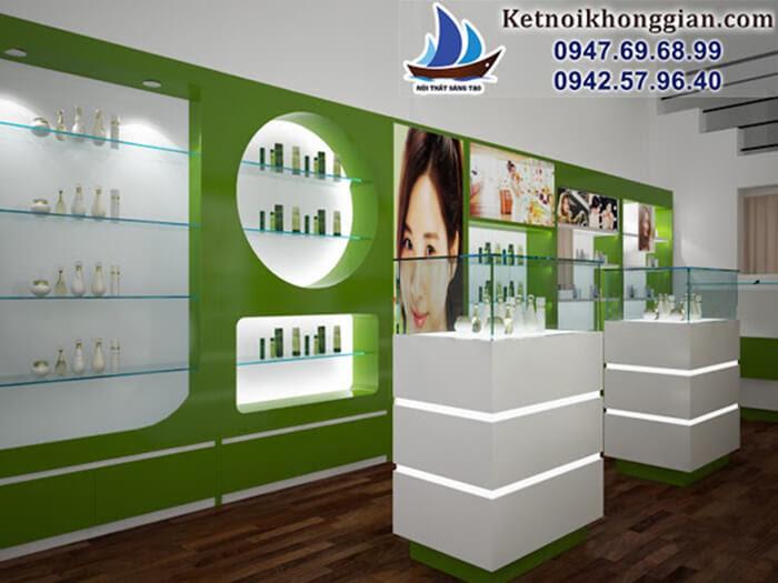 thiết kế nội thất shop mỹ phẩm trẻ trung