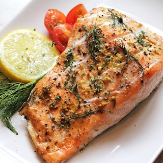 Oven Baked Marinated Salmon Steaks