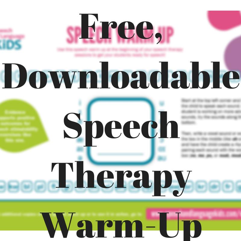 Speech Therapy Warm Up Speech And Language Kids