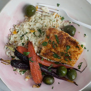 Morrocan-Spiced Cod with Cauliflower Cous Cous and Carrots