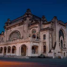 Constanta Casino by Adrian Ioan Ciulea - Buildings & Architecture Public & Historical ( lights, moon, building, blue hour, casino, old building, abandoned, decay,  )