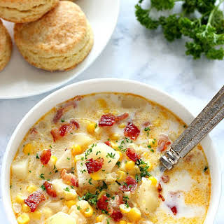 Instant Pot Corn Chowder with Bacon.