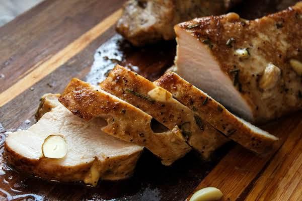 Sliced Rosemary Dijon Pork Tenderloin.