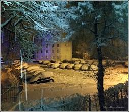 Photo: Turda - Vremea pe la noi...noaptea pe Calea Victoriei, Bloc B15, imagine de la geamul meu - 2018.12.18