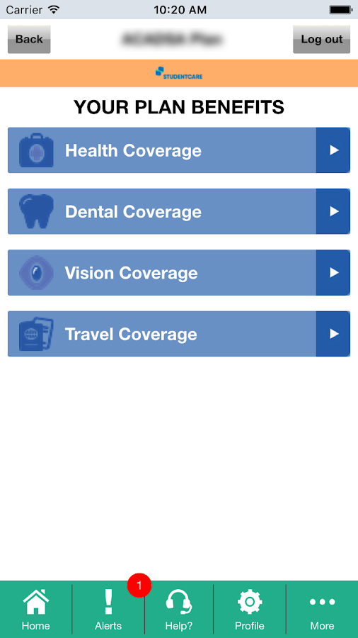 Studentcare mobile- screenshot