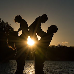Sunset Family by Roberta Lott-Holmes - People Family ( family, sunset family, portrait,  )