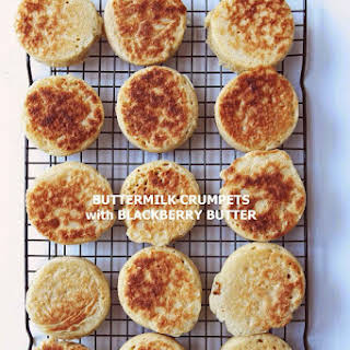 Buttermilk Crumpets with Blackberry Butter.